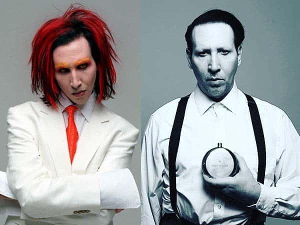 Marilyn Manson sans et avec maquillage